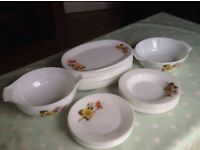 Set of vintage Pyrex Autumn Glory dishes