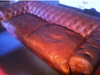 Large Tan leather chesterfield sofa