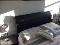 Faux black leather double bed stead