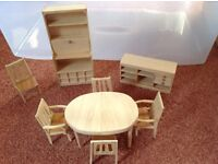 Dolls' house dining room furniture. 1/12 size