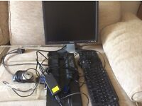 Toshiba laptop docking station, Dell monitor, keyboard, mouse