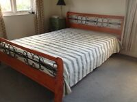 Double bed - 5' - wood with detailed iron work
