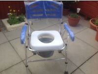 Folding commode in exultant condition