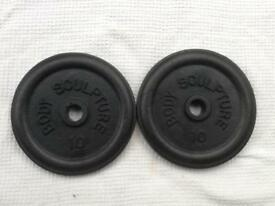 2 x 10lb (4.5kg) Body Sculpture Standard Cast Iron Weights