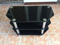 Black & Silver Glass TV/DVD Stand