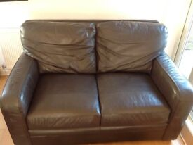 2 X large brown leather Habitat sofas