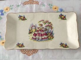 Vintage Crinoline Lady Rectangle Sandwich Plate