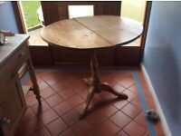 Antique pine folding table waxed