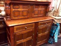 Carved oak court cupboard / sideboard
