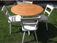 Refurbished Pine Round Farmhouse Table with 4 chairs