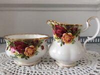 Royal Albert Small Milk Jug and Sugar Bowl. Old Country Roses.