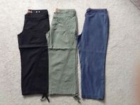 3 x 3/4 length trousers