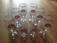 Highly Collectible - Set of 8 Stella Artois glasses (gold rim) & NEW coasters
