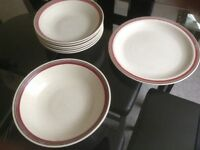 Set of pasta/rice dishes with matching plate and serving dish