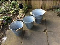 Tin buckets with rope handles for garden or party use