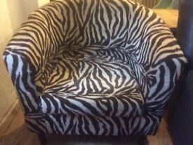 Zebra Print Tub Chair Brown and Cream Print