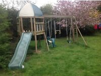 Climbing frame, swing and slide