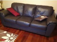 Brown leather two piece suite - 3 seater & 2 seater.