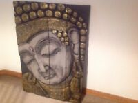 Buddha carved wooden screen, folding (80cm wide x 115cm high) gilt, gray and black