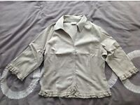 Ladies 3/4 Length Sleeve Light Brown Summer Shirt Size 44
