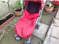 Chicco pushchair with raincover & footmuff