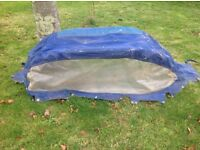 Spray hood for small sailing boat. 160 cms x 60 cms approx. Dirty but looks sound. S/S frame