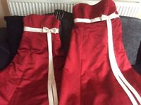 3 claret red and ivory bridesmaid dresses