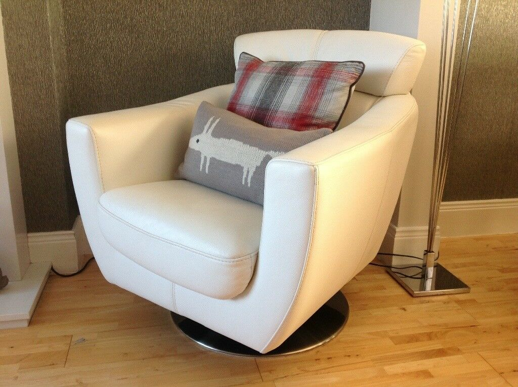 White Leather Swivel Armchair Violino From Reid Furniture