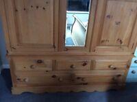 Natural Pine Wardrobe. 2 Doors, Mirror & 5 Drawers