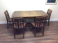 Vintage oak Extending table and matching dining chairs