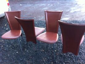 Set of four high back dining chairs