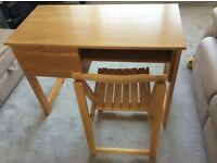 Wooden desk and chair