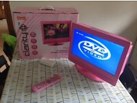 """Clarity 15"""" pink HD LCD TV with built in DVD and freeview"""