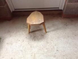 A VINTAGE WOODEN MILKING STOOL
