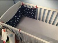 White wooden mamas and papas cot