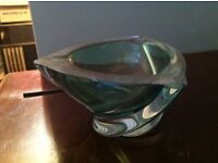 Art Deco style VAL St LAMBERT Crystal ashtray (signed)