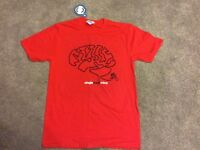 "Brand new ""single track mind"" Mens T shirt size medium red"