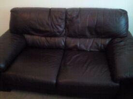 Brown faux leather sofa, excellent condition.