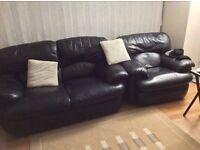 2 piece black leather sofa.