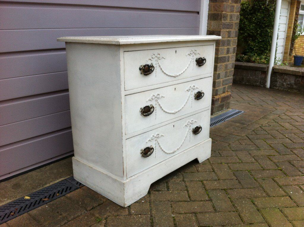 White Three Drawer Vintage Chest of Drawers