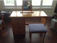 Pine dressing table, stool & freestanding mirror.
