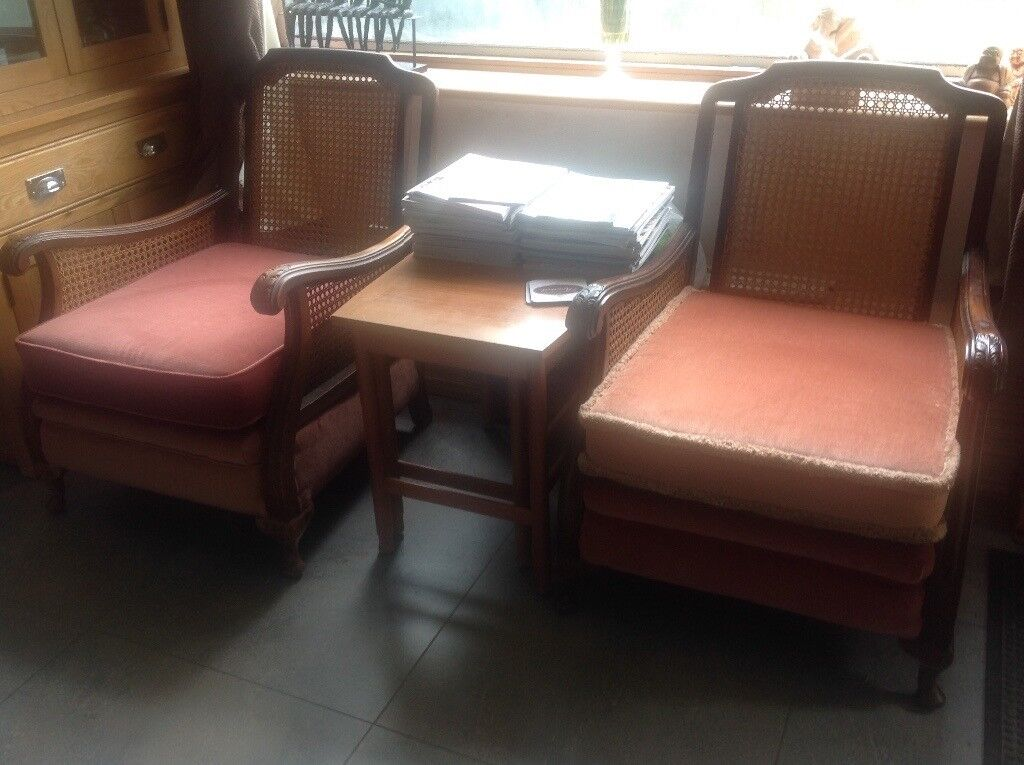 Pair of Edwardian French Bergere Chairs