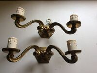 Two brass coloured wall light fittings
