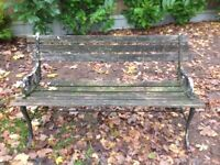 Wooden garden bench with cast iron ends 2 seater restoration project