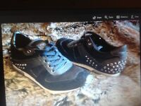 New Aldo leather trainers black studs diamanti to heel 4 suede bootle