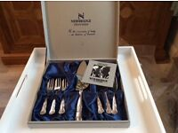 SILVER PLATED PASTRY CAKE SERVING SET CAKE FORKS