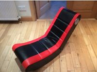 Gaming chair rocker, folds down for easy storage