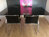 Calligaris Italian Black Glass Dining Table and 4 Dining chairs