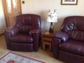Real leather suite. 2 x electronic recliner and sofa. Excellent condition.