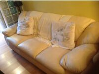 2 Cream Leather Settees